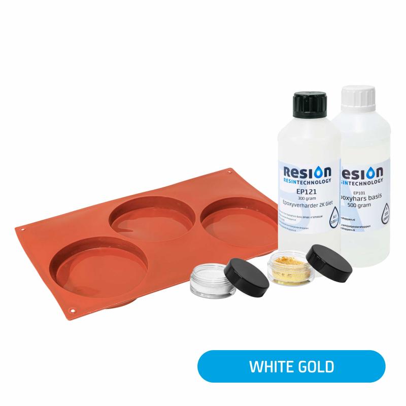 Resin Art onderzetter pakket white gold