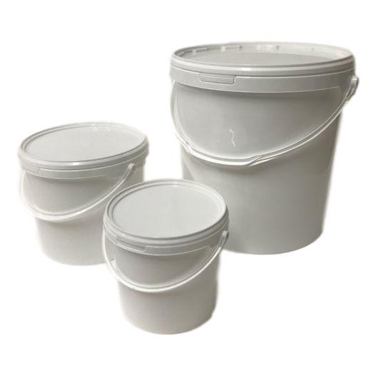Emmer 1liter, emmer 2,5 liter, emmer 5 liter, emmer 10 liter, emmer 20 liter met deksel en hengsel