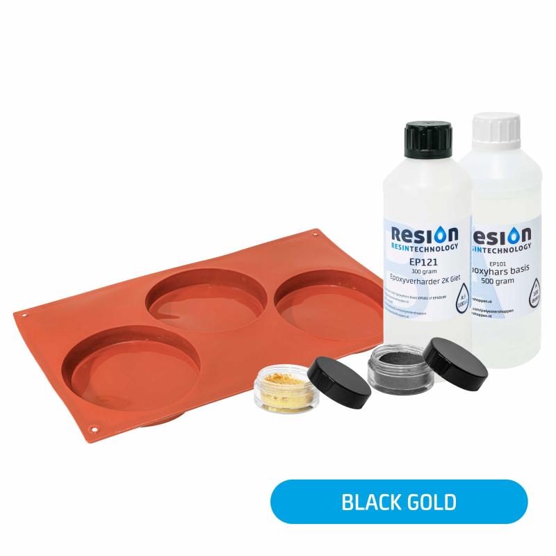 Resin Art onderzetter pakket black gold